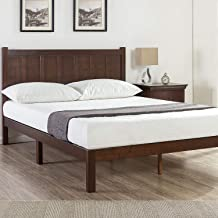 Zinus Adrian Single Timber Bed Frame | Solid Wood Head Board, Quality Timber Slats, Easy Assembly, 5 Year Warranty - Choco...