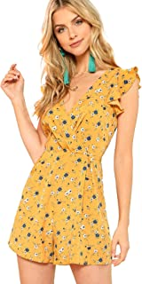 3514ad64130 Romwe Women s Surplice Floral V Neck Flounce Shoulder Ruffle Romper Calico  Print Wrap Short Jumpsuit