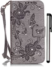 Samsung Galaxy S5 Phone Case Stand Card Holder Grey Leather Magnet Wallet Cases Book Cover Cell Phone Accessories with Bling Crystal Cash Slot Wrist Strap Handmade Embossed Fashion Butterfly Flower