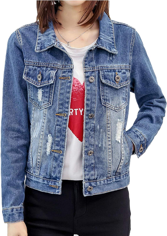 Flygo Womens Juniors Classic Button Down Denim Jacket Ripped Jean Trucker Jackets