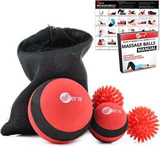sFera Deep Tissue Massage Balls Set of 4 for Trigger Point Therapy, Myofascial Release   Includes: Small and Large Firm Foam Roller Balls, 2 Spiky Balls, Mesh Bag, Manual