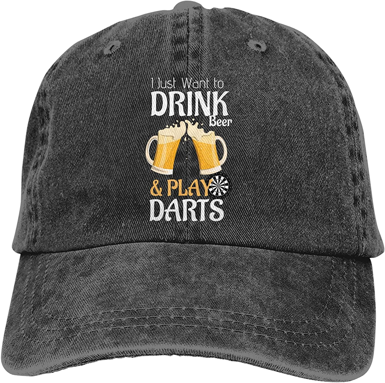 I Just Want to Drink Beer & Play Darts Baseball Cap Trucker Hat Retro Cowboy Dad Hat Classic Adjustable Sports Cap for Men&Women Black