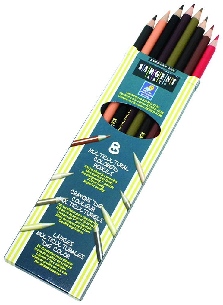 Sargent Art 22-7208 Colors of My Friends 8-Count Multicultural Colored Pencil Set