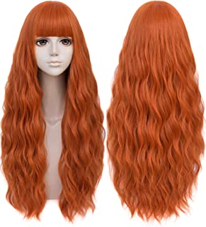 Mildiso Ginger Wigs for Women 26'' Long Copper Fluffy Curly Wavy Pastel Cosplay Wig with Bangs for Halloween Party Daily M...