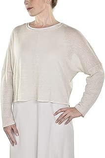 Bone Organic Linen Crepe Knit Jewel Neck Top $228, sz Large