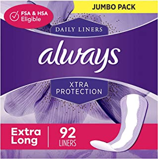 Always Xtra Protection Dailies Feminine Panty Liners for Women, Extra Long, 368 Count, Unscented (92 Count, Pack of 4 - 36...