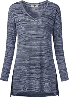 Women's Long Sleeve Textured Side Slit Pullover Tunic Tops