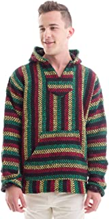 Baja Joe Striped Woven Eco-Friendly Jacket Coat Hoodie (Teal)