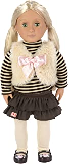 Our Generation Holly 18-Inch Doll with Tights, Frilly Skirt, Striped Turtleneck, and Faux Fur Vest