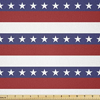 Ambesonne 4th of July Fabric by The Yard, Stars and Stripes Pattern American Flag Inspired Patriotic Theme, Stretch Knit F...