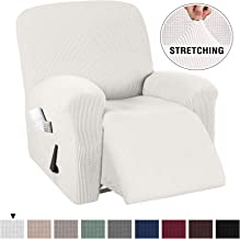 1 Piece Ultra Stretch Lycra Jacquard Recliner Slipcovers Sofa Covers Furniture Protector with Elastic Bottom, Anti-Slip Foams, with Spandex Jacquard Small Checks (Recliner, Ivory White)