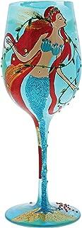 Enesco GLS11-5526N WINE GLASS MERMAID Drinkware, 10.5 in H x 3.25 in W x 3.25 in L, Blue/Green/Orange/Brown