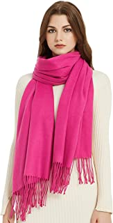 VIVIAN & VINCENT Soft Elegant Solid Color Virgin Wool Cashmere Scarf Shawl Warp