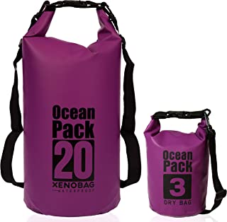 XENOBAG Wasserfeste Tasche 3 Liter o. 20 Liter/Dry Bag, klein/Ocean Pack 3l o. 20l / wasserdichter Beutel/Drybag mit verstellbaren Schultergurten und Sicherheitsverschluss