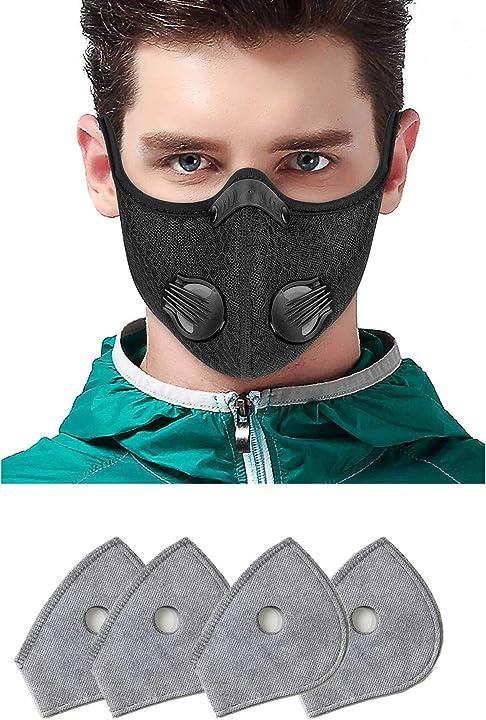 Maschera sportiva con valvola per allenamento, con filtro a carboni attivi, con valvola B08H8Q6JT4