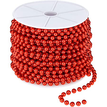 Red/&Gold Artiflr 2Pack Christmas Tree Beads Garland,Total 131 Foot Fishing Line Artificial Pearls Beads String Roll Chain Faux Pearl Beaded Trims for Wedding Christmas and Holiday DIY Supplies
