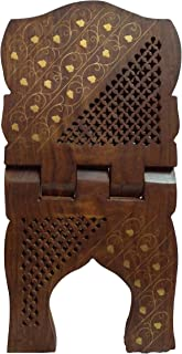 The Indian Arts Wooden Handmade Quran Geeta Bible Holder Support Stand Reading Book Holder Display Folding Religious Prayer Stand Wooden Holy Book Stand