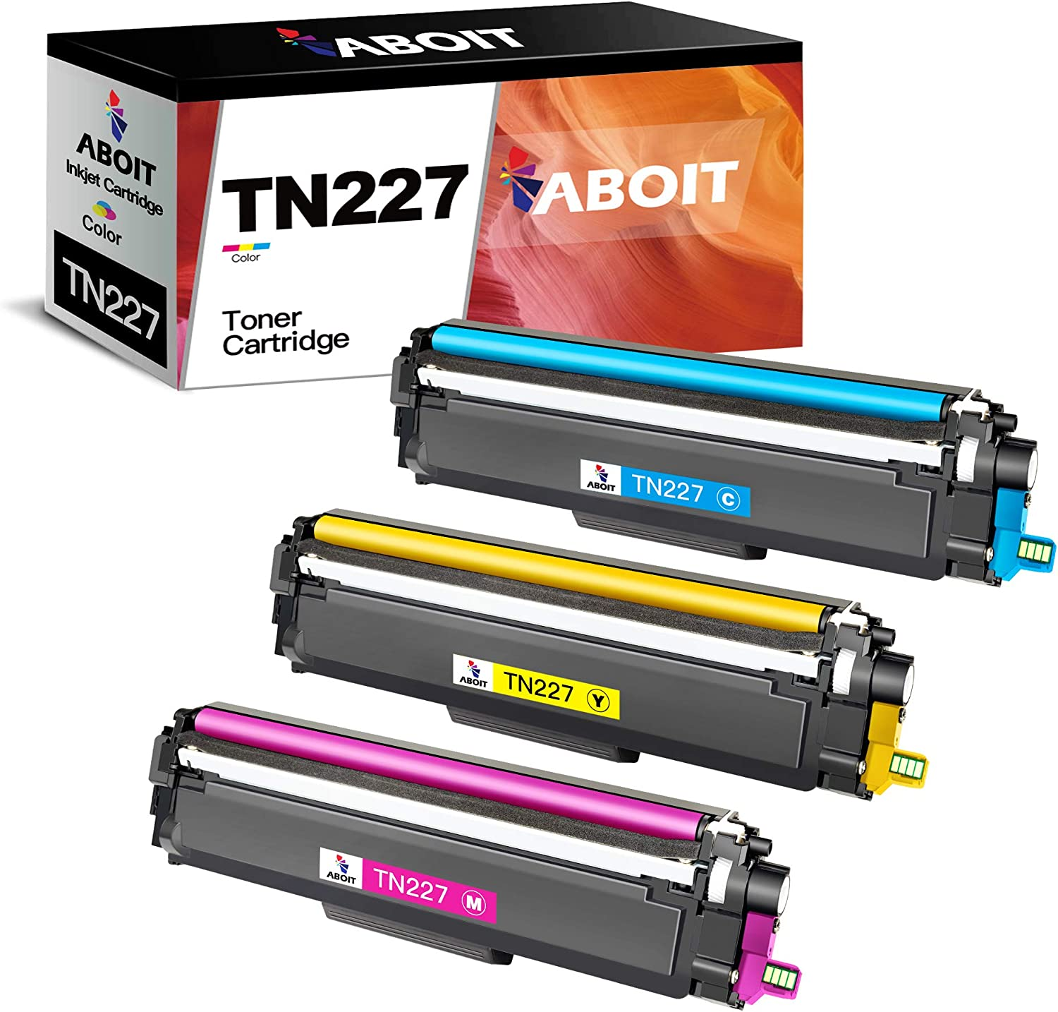 ABOIT Compatible Toner Cartridge Replacement for Brother TN227 TN-227 TN227BK TN223 TN 223 with Brother MFC-L3770CDW MFC-L3750CDW HL-L3230CDW HL-L3290CDW HL-L3210CW MFC-L3710CW Printer Tray (3 Pack)