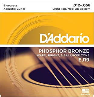 D'Addario Phosphor Bronze Acoustic Guitar Strings, Bluegrass, 12-56 (EJ19)