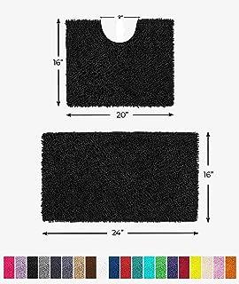 LuxUrux Bathroom Rugs Luxury Chenille 2-Piece Bath Mat Set, Soft Plush Anti-Slip Shower Rug +Toilet Mat.1'' Microfiber Shaggy Carpet, Super Absorbent Machine Washable Bath Mats(Curved Set Mini, Black)