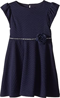 Us Angels Ruffle Sleeve Fit & Flare Textured Knit Dress (Toddler/Little Kids)