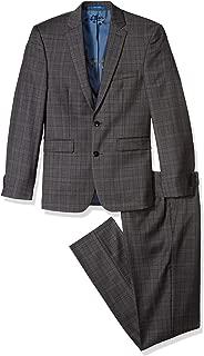 Men's Slim Fit Grey/Rust Windowpane 2 Piece Suit