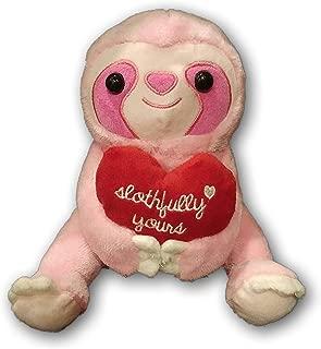 A&T Designs Slothfully Yours  - Romantic Pink Sloth Stuffed Animal Plush Doll (Husband Wife Boyfriend Girlfriend Bride Groom) (Happy Valentine's Day, Wedding, Present)