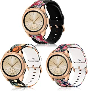 KOREDA Compatible with Samsung Galaxy Watch 42mm/Active/Active 2 40mm/44mm Bands Sets, 20mm Soft Floral Print Sport Watch Strap Replacement for Galaxy Watch Active 2/Gear Sport Smartwatch (3 Pack#3)