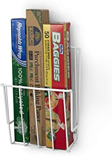 Takyl Home Cabinet & Wall Mount Food Wrap Organizer Rack for Plastic Storage Bags, Aluminum & Tin Foils, Wax & Parchment Paper Rolls, Cling Strech Wraps & More, White