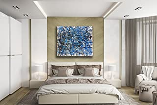 Hand-painting oil based Jackson Pollock style Blue theme stretched canvas 3 pieces Luxury home office art decor