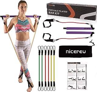Nicereu Portable Gym Pilates Bar with Resistance Bands...