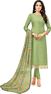 Rajnandini Women's Olive Green chanderi silk Embroidered Semi-Stitched Salwar Suit Material With Printed Dupatta (Free Size)