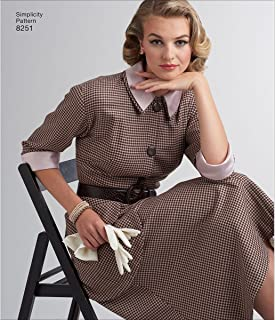 Simplicity 8251 1950's Vintage Dress Sewing Pattern, Sizes 6-14