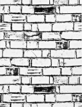 Stone Wallpaper Brick White Black Peel and Stick Wallpaper 17.71in X 118in Self Adhesive Removable Waterproof Vinyl Home D...