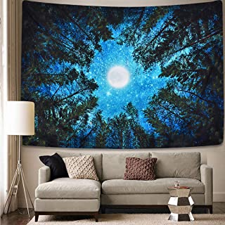 Alishomtll Forest Starry Tapestry Moon and Stars Tapestry 3D Printing Trees Night Sky Tapestry Galaxy Space Tapestry Milky Way Tapestry for Bedroom