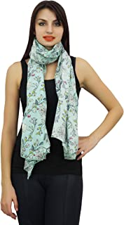 Phagun Women Floral Printed Long Stole Neck Wrap 100% Cotton Lightweight, Shawl, Scarves Scarf-28x72 Inches