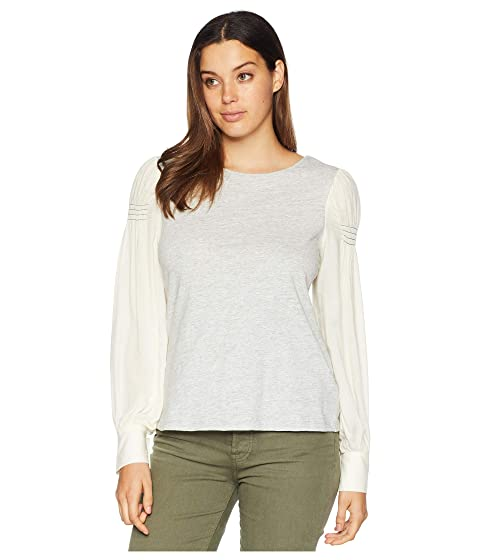 fa73f636238493 TWO by Vince Camuto Long Sleeve Smocked Shoulder Mix Media Slub Top ...