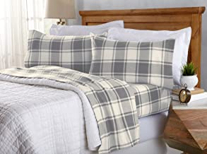 Great Bay Home Super Soft Extra Plush Plaid Fleece Sheet Set. Cozy, Warm, Durable, Smooth, Breathable Winter Sheets with Plaid Pattern. Dara Collection Brand. (Twin XL, Grey)