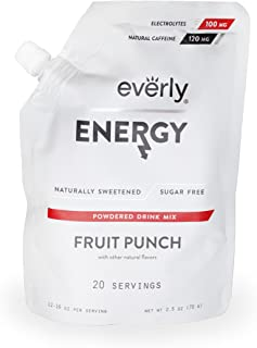 Everly Energy - Natural Energy Drink Mix Powder, Sugar Free, Natural Sweeteners, Organic Caffeine, Keto Diet, Water Flavoring & Enhancer - Pouch, 20 Servings, Fruit Punch