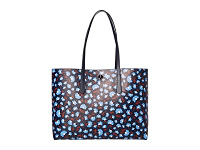 Kate Spade New York Molly Party Floral Large Tote (Blazer Blue Multi) Bags