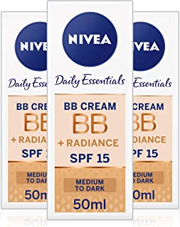 NIVEA Daily Essentials BB Cream 5-in-1 Beautifying Moisturiser with SPF 10, Medium to Dark 50 ml - Pack of 3