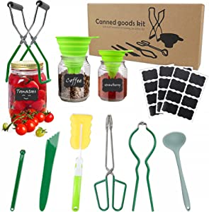 Canning Kit, 33pcs Canning Supplies Starter Kit for Beginners, Canning Funnel, Tongs, Canning Labels, Jar Lifter, Jar Wrench, Lid Lifter, Spoon, Bubble Popper, Canning Essentials Set for Mason Jars