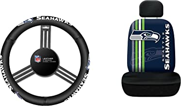 NFL Seattle Seahawks Rally Seat Cover with Leather Steering Wheel Cover, One Size, Black