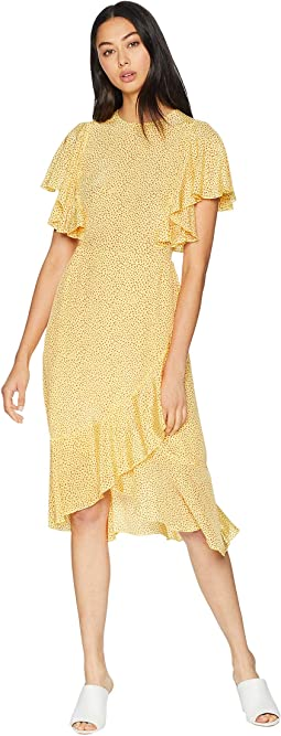 Laurel Ditsy Ruffle Silk Dress