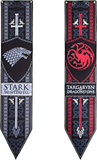 """Calhoun Game of Thrones Stark & Targaryen Felt Banner Set (12"""" by 60"""") - Set of 2"""