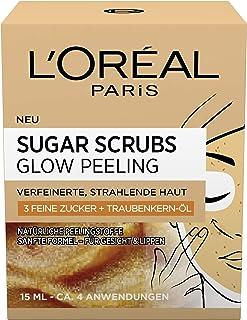 L'Oréal Paris Sugar Scrubs Glow Ansiktspeeling med Socker och Druvkärnolja, 2 x 15 ml