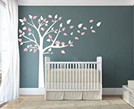 LUCKKYY Cute Owls with Birds Stand on The Tree Wall Decals Tree Wall Decals Tree Wall Sticker for Kid Baby Nursery Room (87x78) (Pink.)