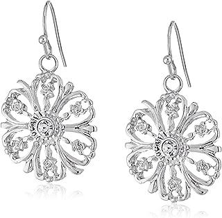 1928 珠宝银色水晶点缀花透明吊坠耳环