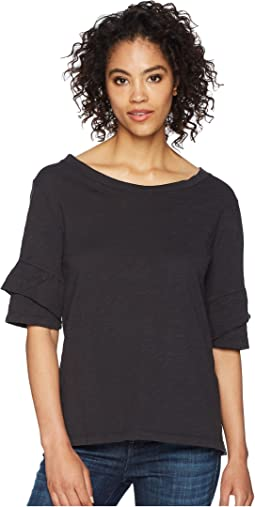Dylan by True Grit - Soft Slub Ruffle Short Sleeve Tee