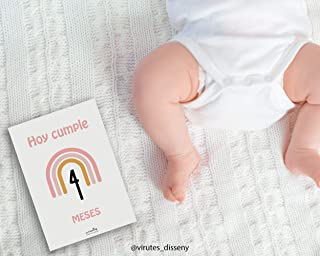 Láminas impresas CUMPLE MES | Lámina para celebrar el cumple mes | Recuerdo de crecimiento | Bebe recién nacido | Ahora ta...